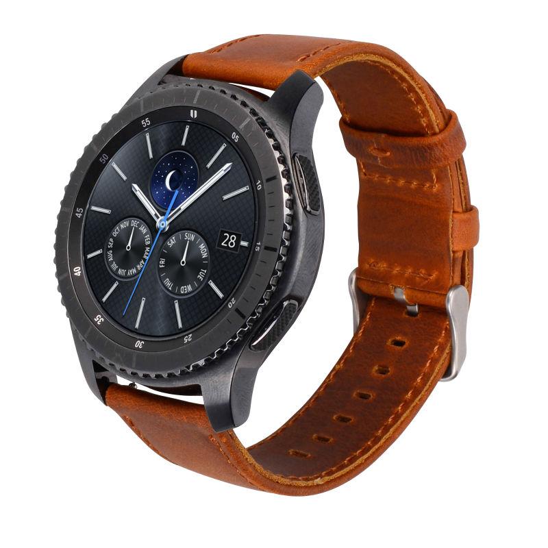 Prix pour Véritable Bracelet En Cuir Pour Samsung Gear S3 Smart Watch Bande De Montre De Remplacement Bracelet Pour Les Engins S3 Classique frontière Smart Watch