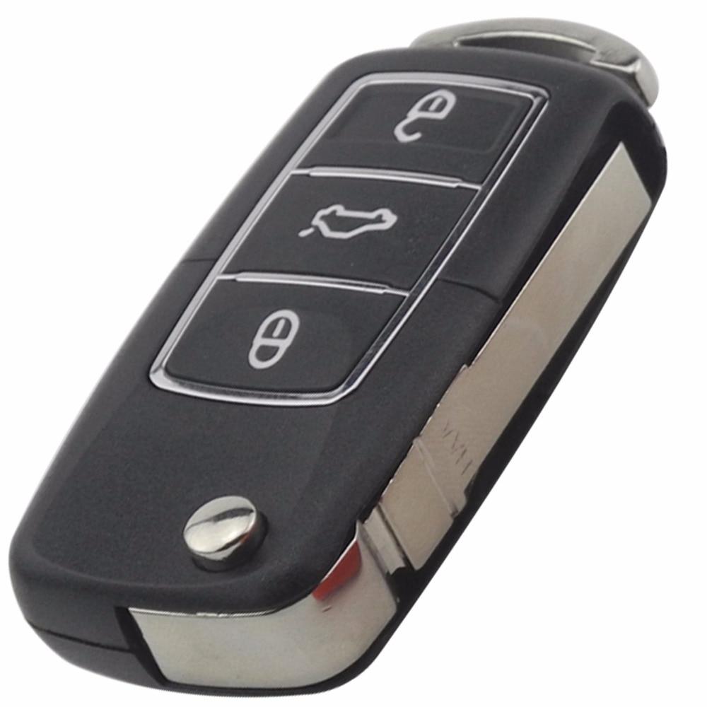 jingyuqin flip folding  buttons remote car key shell fob case  volkswagen vw jetta golf