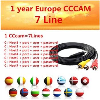 Estable DVB-S2 receptor de tv por satélite cccam líneas 1 año Europa 7  clines francés España/Alemania para freesat V8 Super v7S HD AV cable