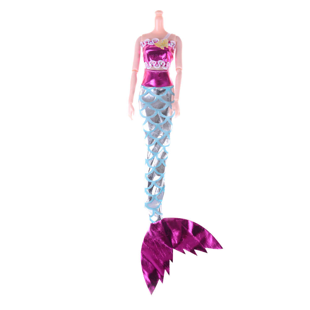 2PCS/set Baby Toy Party Dress Handmade Dolls Mermaid Tail Dress Gown Skirt Fashion Clothes For Doll Accessories