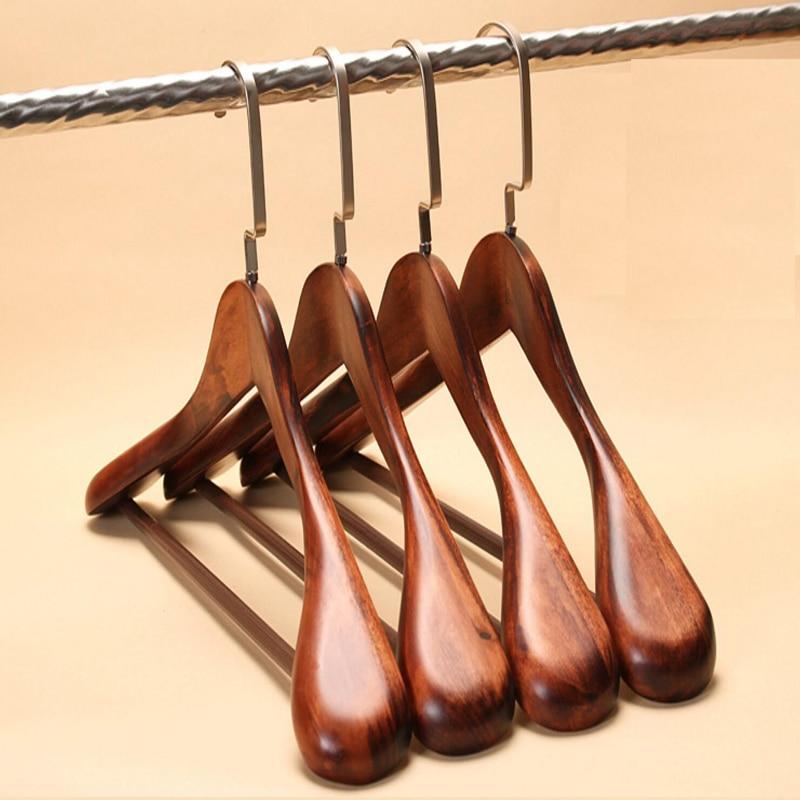 3pcs/lot 40/44cm Man Woman Wide Shoulder Hanger Vintage Wood Coat Hangers Household Clothing Store Solid Wood Suit Hanger