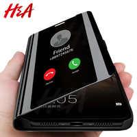 H & A Intelligente Specchio Cassa Del Telefono di Vibrazione Per Samsung Galaxy S9 S8 S7 S6 Bordo Più A3 A5 A7 j3 J5 J7 2017 Clear View Caso Della Copertura di J6 A6 A8