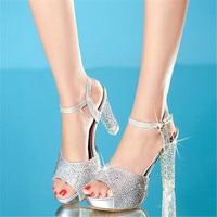 Women Wedding Prom Silver Rhinestone Peep Toe Platform 3 Inch Thin High Heels Sandals Shoes Bride