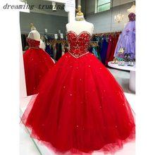 d0731b677 Rojo de fiesta Quinceañera vestidos con cuentas cristales dulce 16 vestido  de 15 años vestido de fiesta de cumpleaños