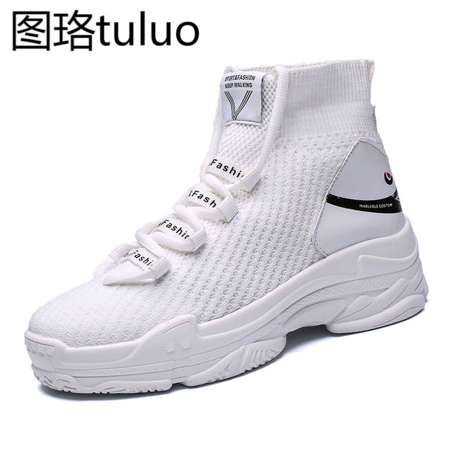 Sneakers Women Knit Upper Breathable Sport Shoes Chunky Shoes High
