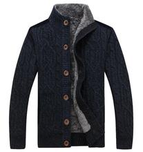 2017 warm thick velvet cardigan sweater men's winter jacket Men stand collar loose sweater
