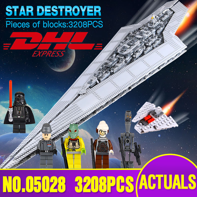 DHL LEPIN 05028 Star Toy Wars Execytor Super Star Destroyer Model Building Kit Block Brick Compatible Legoed 10221 Boy Gifts 05028 star wars execytor super star destroyer model building kit mini block brick toy gift compatible 75055 tos lepin