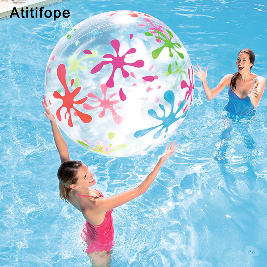 Large Size Transparent Color Printing Beach Ball Beach Ball Inflatable Handball Pool Water Polo Accessories Toys