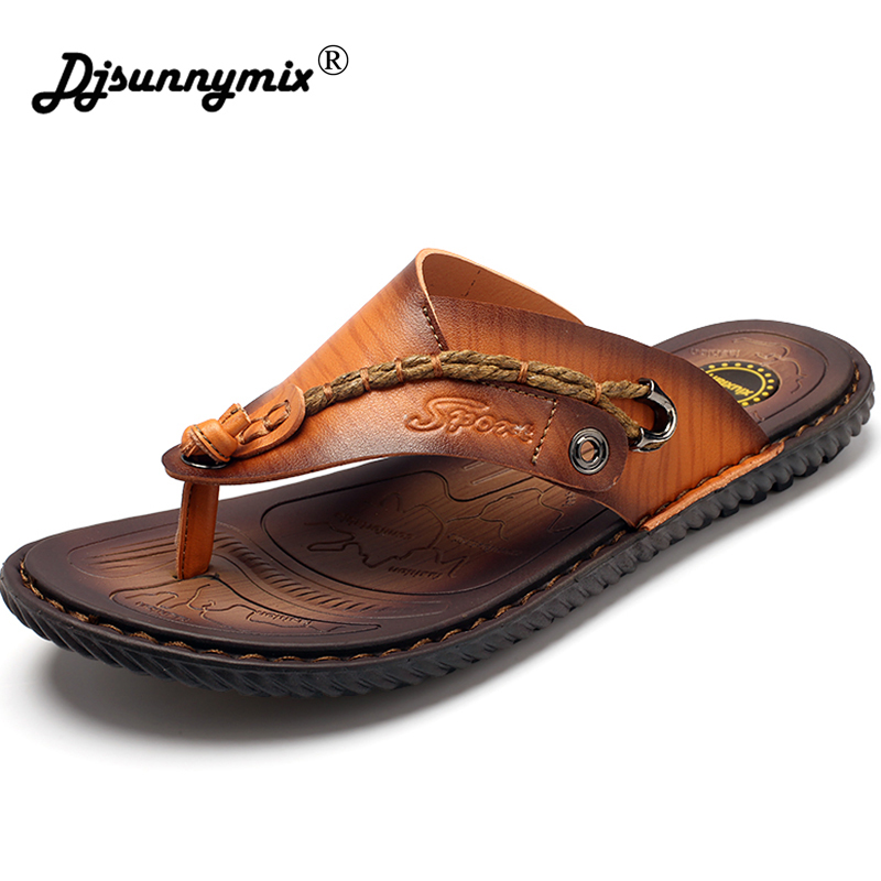 DJSUNNYMIX 2018 New Summer Shoes Men's Slippers Microfiber Leather Beach Sandals Men Casual Shoes Flip Flops Big Size 46