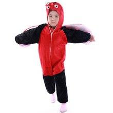 Encantador de los cabritos de los niños Unisex pijamas animal Anime Cosplay Costume Onesie mariquita(China (Mainland))