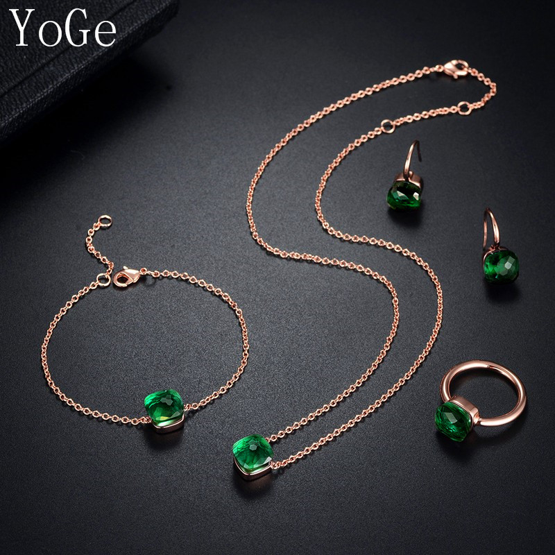 YoGe Statement Jewelry Luxury dark green square crystal necklace stud earrings bracelet and ring 4pcs set