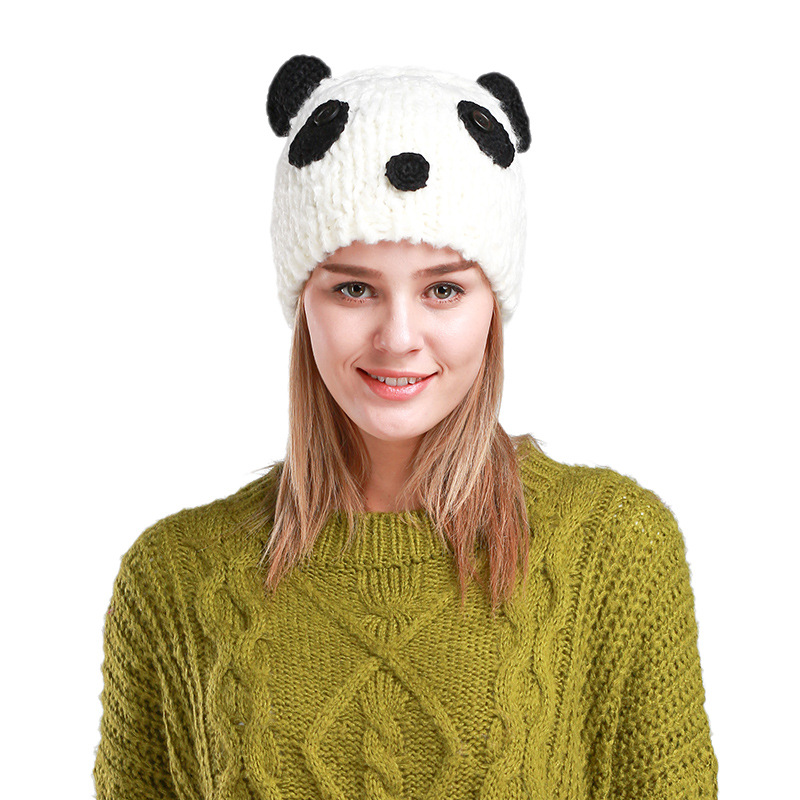 2017 New Woman Cute Panda Cartoon Manual Knitted Wool Hat Classical White Black Mix Winter Warm Lady Sweety Loely Beanies Caps the new children s cubs hat qiu dong with cartoon animals knitting wool cap and pile