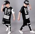 2016 spring summer children's clothing set Costumes black white Star jazz Hip Hop dance Pants & T-shirt kids  suits