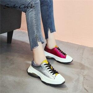 Image 3 - Sorriso círculo mulher tênis sapatos de plataforma plana para mulher fundo grosso moda cores misturadas sapatos casuais 2019 primavera