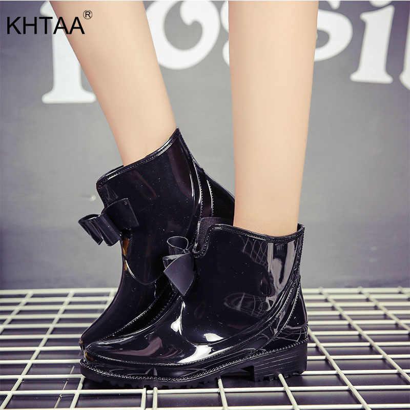 Женские непромокаемые ботильоны из лакированной кожи; нескользящие резиновые сапоги на низком каблуке; Модные женские водонепроницаемые ботинки на платформе с бантом