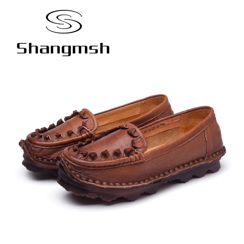 Shangmsh allerina flats Zapatos de mujer Cuero genuino Resbalón - Zapatos de mujer