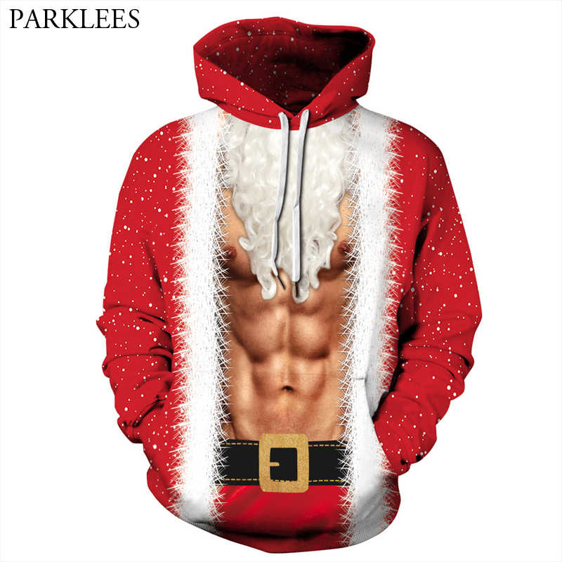 Ugly Christmas Hoodie Men Women Sweatshirt 2018 Funny 3D Fake Two Pieces  Muscle Printed Mens Hoodies 0016b91d2a19