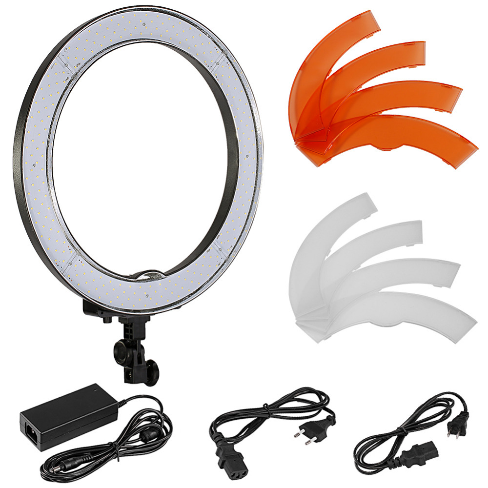 Neewer Camera Photo/Video 18/48cm Outer 55W 240PCS LED SMD Ring Light 5500K Dimmable Ring Video Light+Color Filtes+Adapters