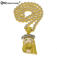 Hip Hop Men Women Bling Iced Out Jesus Pendants Round Chain Necklace Gold Crystal Cuban Chain
