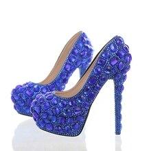 618d1966e Azul real Rhinestone nupcial vestido zapatos estupendos del alto talón zapatos  de fiesta del banquete de boda azul cristal Navid.