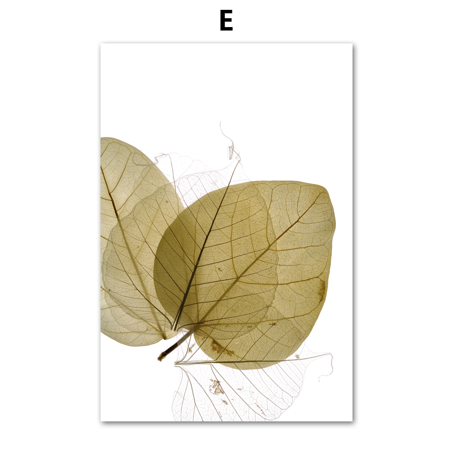 7 Space Nordic Wall Art Leaves And Veins Canvas Painting Print ...