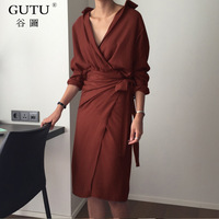 GUTU 2017 Autumn New Korean Temperament Solid Color V Collar Long Sleeves Side Bandage Mid