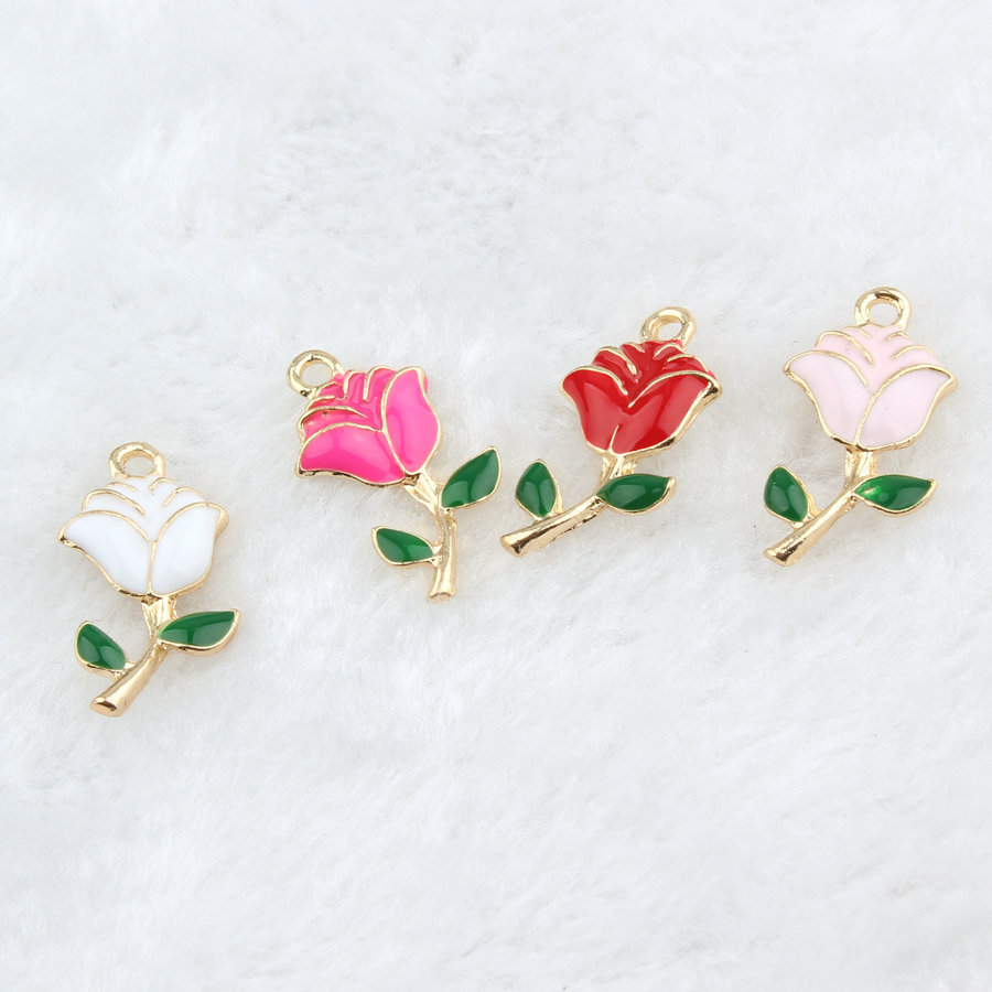 Mini Order 20PCS Oil Drop Valentines Day Rose Flower Jewelry Pendant Charms Gold Tone Enamel Mixed Color Drop Oil Charm