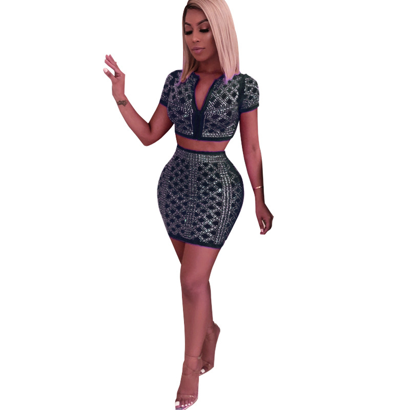 Echoine Fashion Women 2 Piece Set Diamonds Hot Sexy V Neck Zippers Short Sleeve Crop Tops Mini Short Skirts Suits Female Clothes in Women 39 s Sets from Women 39 s Clothing