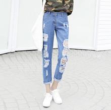 2017 весна лето новый большой размер S-4XL прямые отверстие джинсовые брюки женщины шаровары свободные Девять брюки джинсы w72