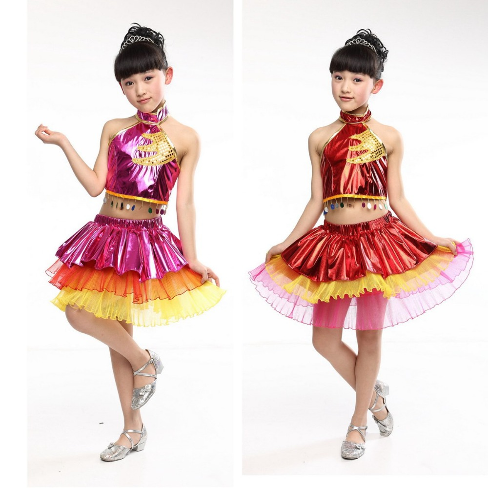Fashion Performance Stage Sequined Tassel Ballet Dance Tutu Leather Dress Two Piece Girls Kids Children Dancewear S3129 christmas dress professional ballet tutu fashion dance dress performance wear costumes th1034c hair accessory clothes children