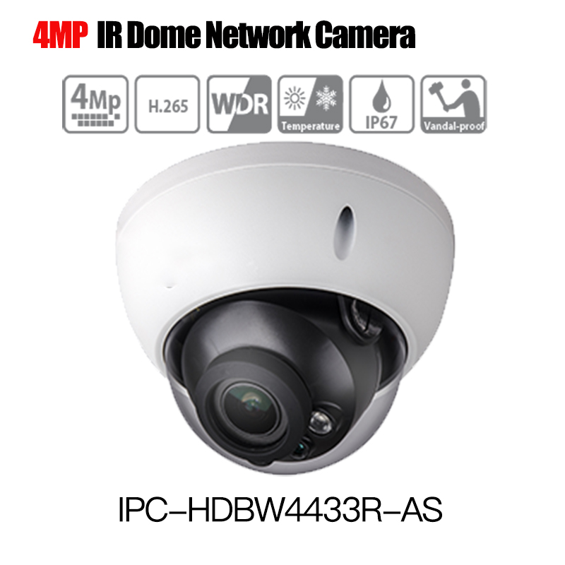 DH 4MP CCTV IP Camera IPC-HDBW4433R-AS support Audio and Alarm PoE Camera 1080p onvif mini dome IP camera IK10 IP67 IR 30m dahua 4mp cctv ip camera ipc hdbw4433r as support ik10 ip67 audio and alarm poe camera with ir range 30m