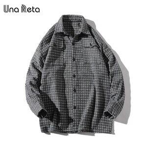 Image 2 - Una Reta Men Shirt Autumn and Spring New Brand Hip Hop Retro Lapel Shirt Men Fashion Streetwear Lattice Single Breasted Shirts