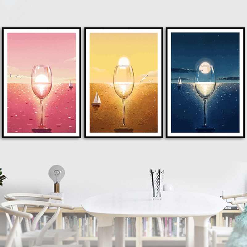 nordic poster abstract color wine glass landscape canvas painting wall art posters and prints for living