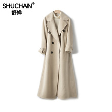 Shuchan Women 90% Wool Coat Double Breasted Button X-Long Coats and Jackets Women Autumn Winter 2019 New Items Warm Coats недорого
