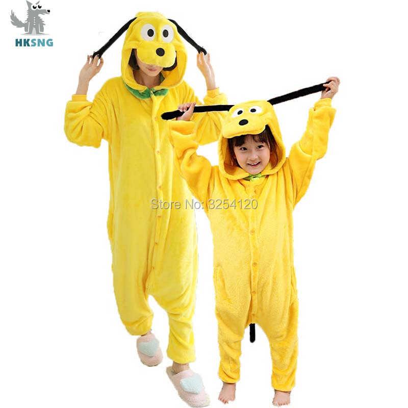 Hksng Animal Kigurumi Volwassen Pluto Onesie Pyjama Hoge Kwaliteit Flanel Familie Party Gele Hond Cosplay Kostuums Jumpsuits Rits