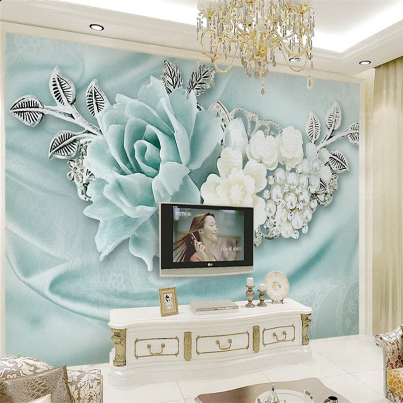 Beibehang Wallpaper Custom Living Room Bedroom 3d Mint Green Jewelry Pearl Oil Painting Mural TV Background Wall Home Decoration