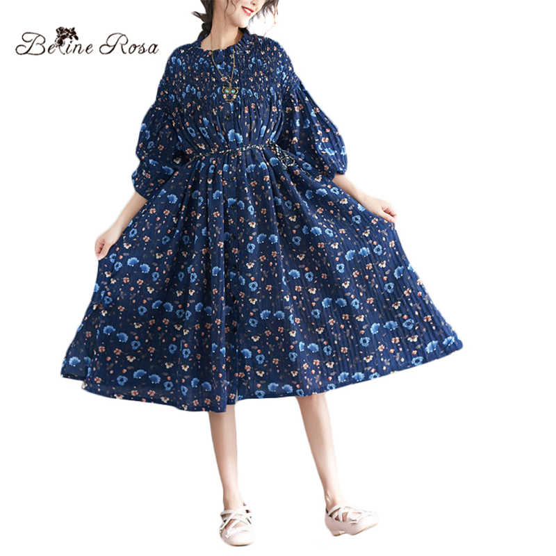 BelineRosa Holiday Beach Casual Style Summer Dresses 50 ~ 150KG Weight Blue Flower Printing Large Size Dresses 72B00004