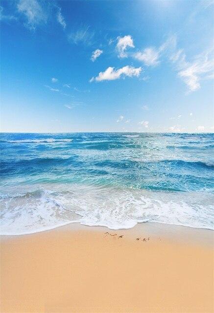 Laeacco Estate Cielo Blu Spiaggia Del Mare Onde Photography Scenico