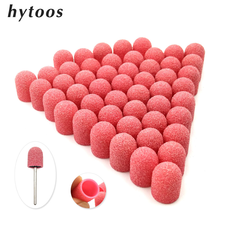 50Pcs 10*15mm Plastic Base Pink Sanding Caps With Grip Pedicure Care Polishing Sand Block Drill Accessories Foot Cuticle Tool