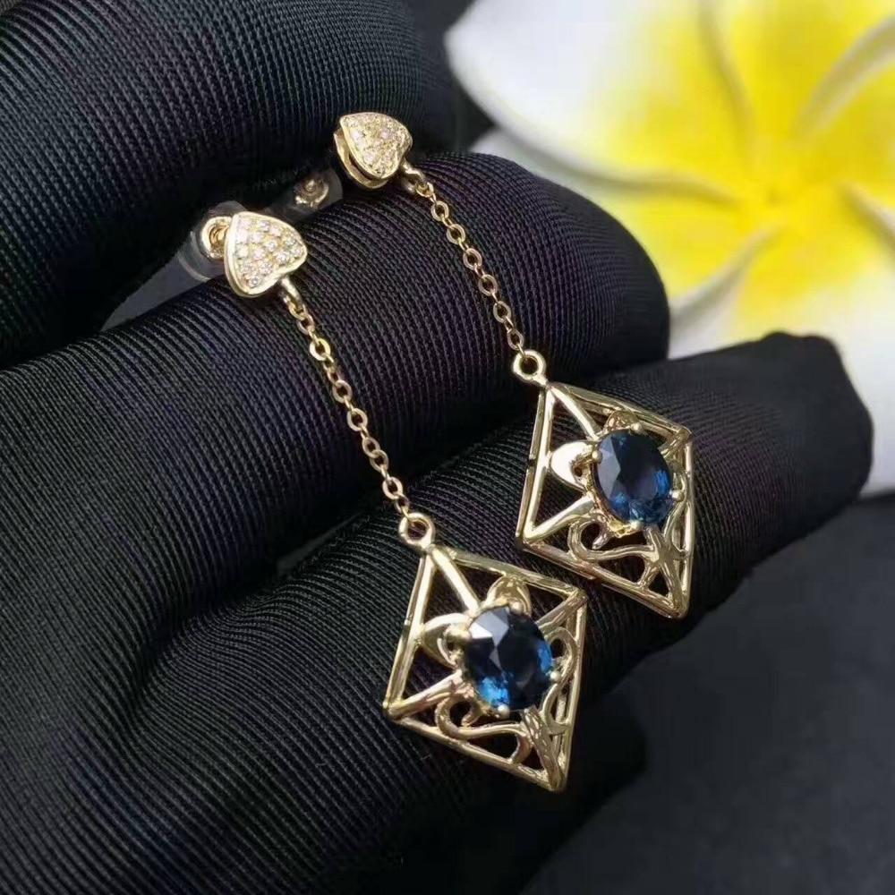 Natural blue sapphire gem drop earrings 925 silver natural gemstone earrings folk custom Retro rhombus women