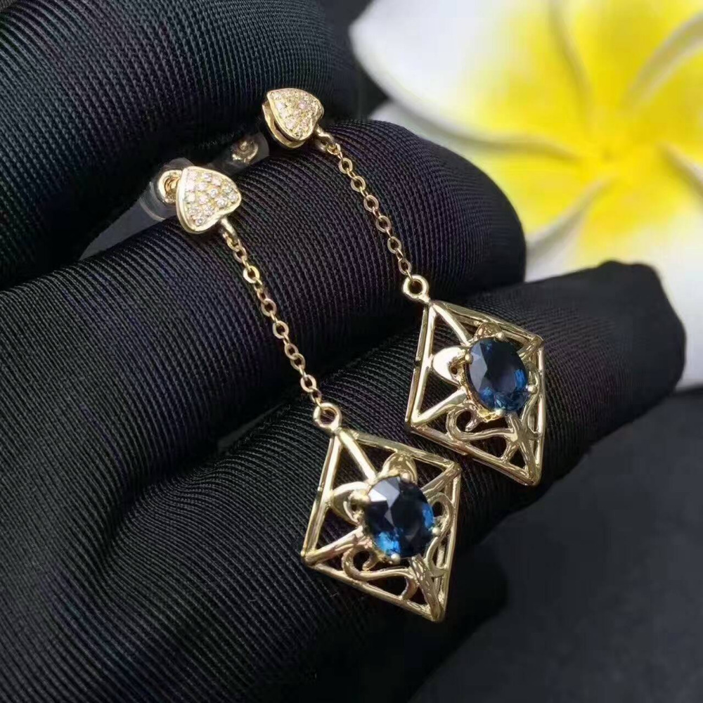 Natural blue sapphire gem drop earrings 925 silver natural gemstone earrings folk-custom Retro rhombus women gift fine jewelry artificial gem rhinestone drop earrings