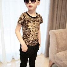 2016 New Casual Boys Sport Set Children Suit Baby Kids Tracksuit Fashion Leopard Grain summer Children suits Outwear