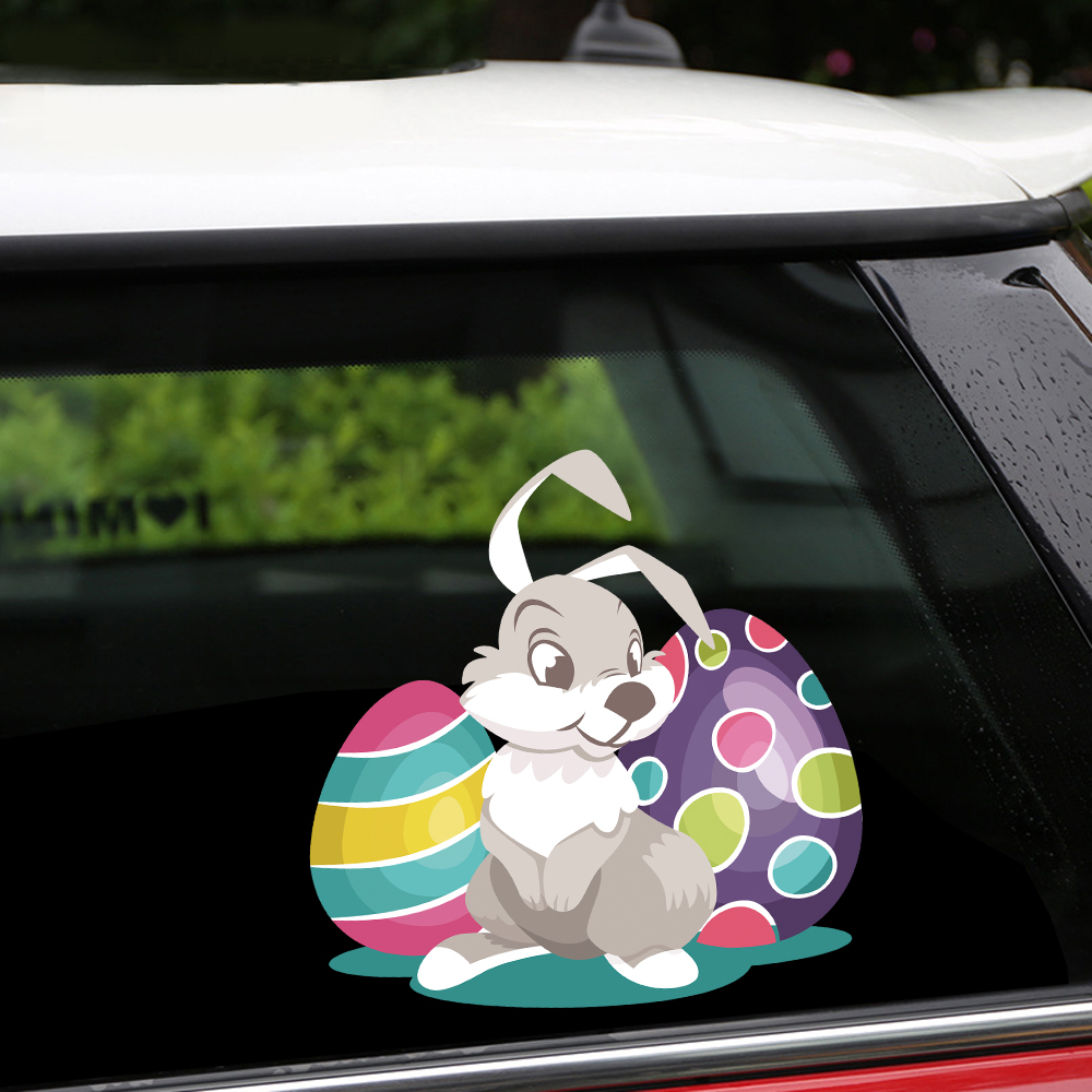 Easter Rabbit Bunny Eggs Waving Novelty Sticker Car Rear Windscreen Wiper Decor