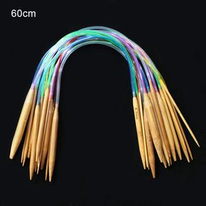 Image 3 - Multicolor tube 18size/set Bamboo Circular Crochet Knitting Needles Set 40 120cm Sewing Pattern  Thickness Knitting Needles