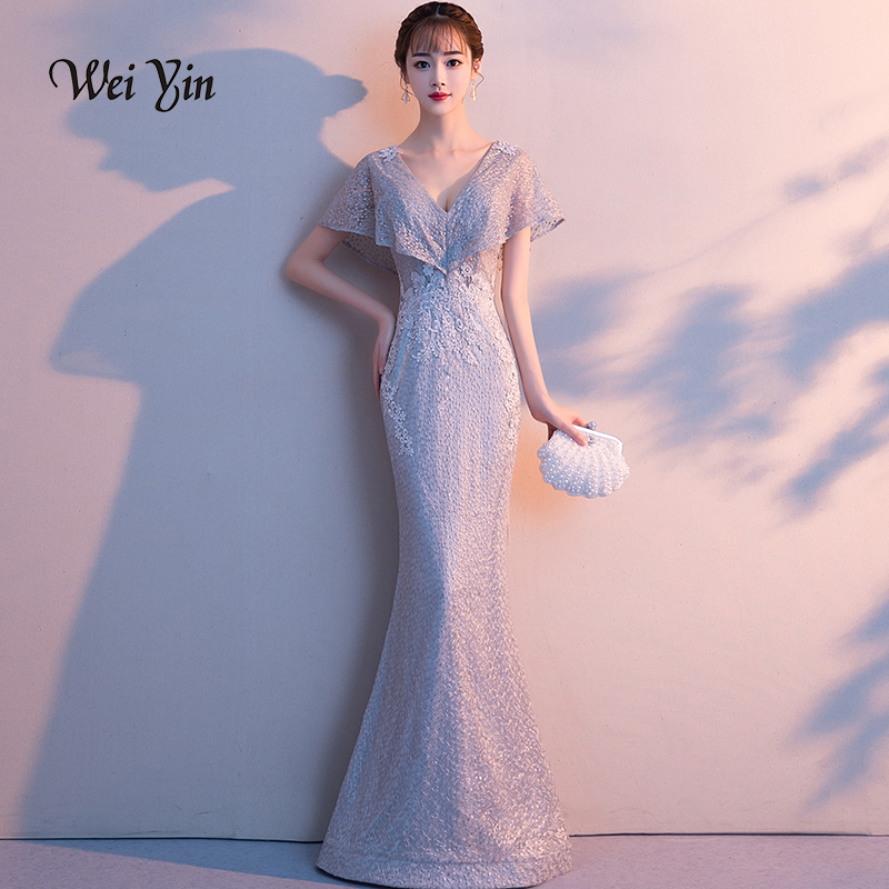 weiyin Grey Lace Mermaid   Evening     Dresses   2018 V Neckline Elegant Peach Collar Long   Evening   Party   Dress   WY765