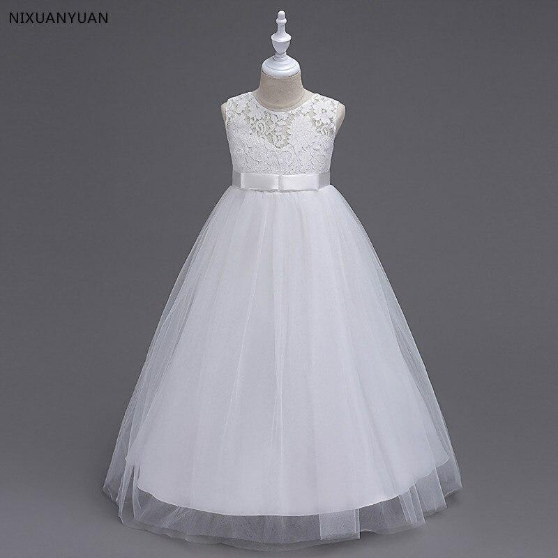 White Flower Girl Dresses Tulle 2020 Beading Appliqued Pageant Dresses For Girls First Communion Dresses Kids Prom Dresses