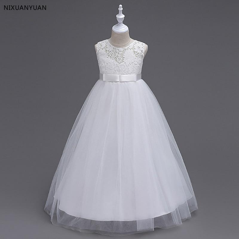 White   Flower     Girl     Dresses   Tulle 2019 Beading Appliqued Pageant   Dresses   for   Girls   First Communion   Dresses   Kids Prom   Dresses