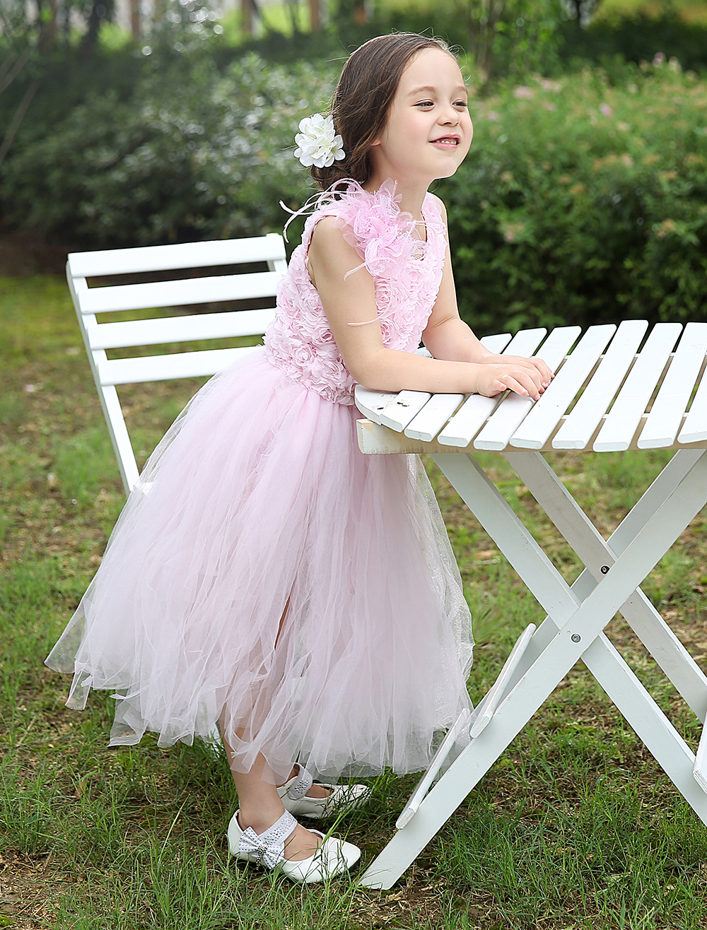 Elegant tulle pale pink kids girls dresses with Appliques flowers girls kids formal Pageant Dresses headpiece