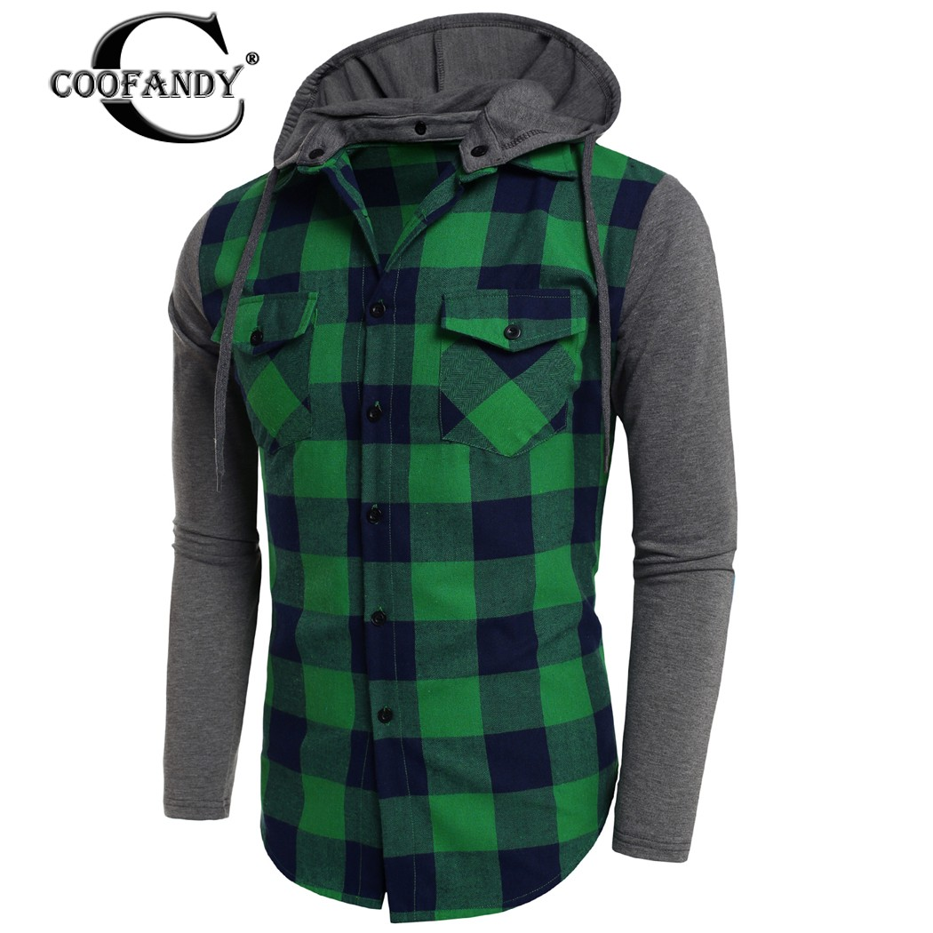 COOFANDY NEW Arrivals Autumn Men Fashion Hooded Long Sleeve Plaid Patchwork Button Down Casual Shirts