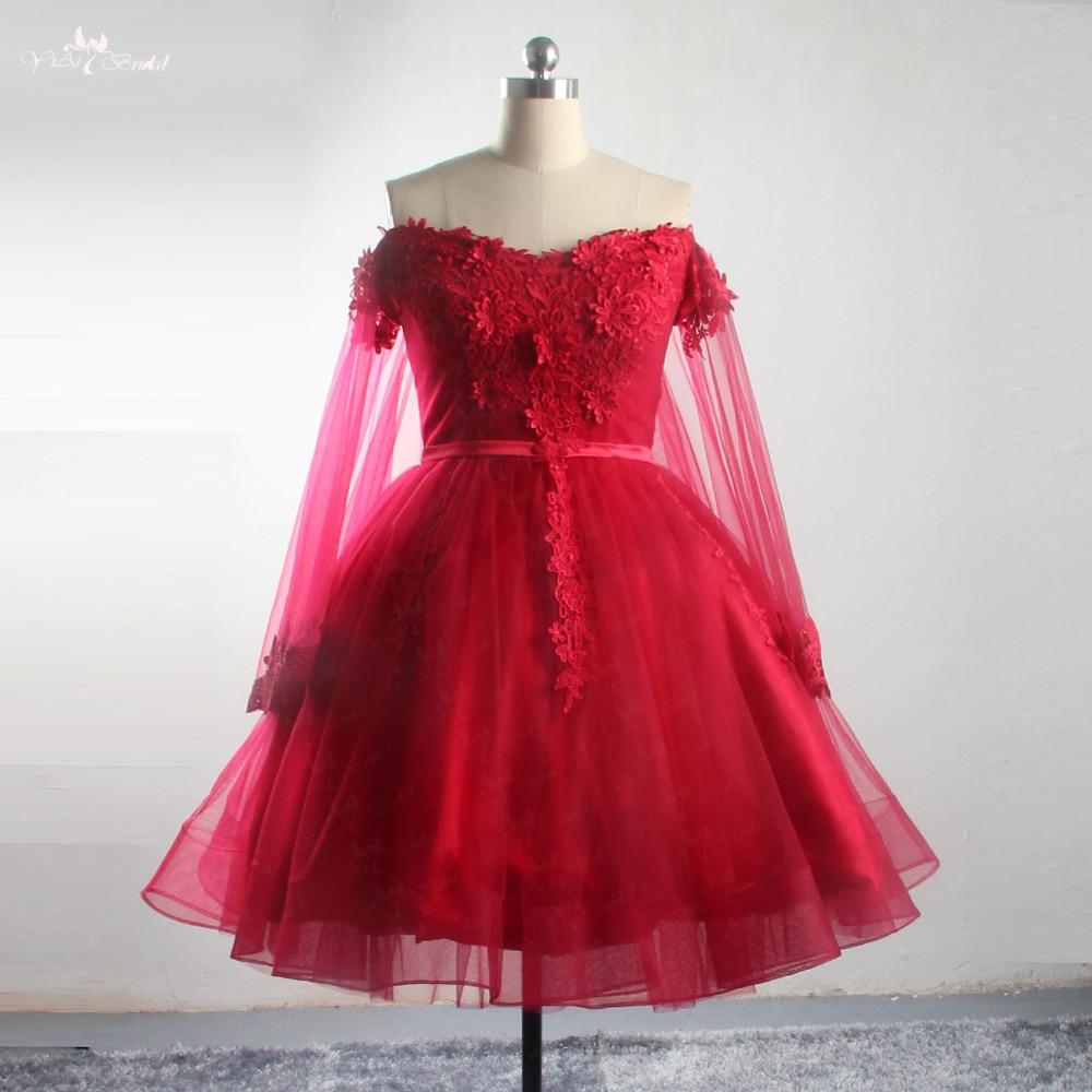 LZF102 Claret Off Shoulder Short   Cocktail     Dresses   Sweetheart Flowers Ball Gown Knee-Length   Dress